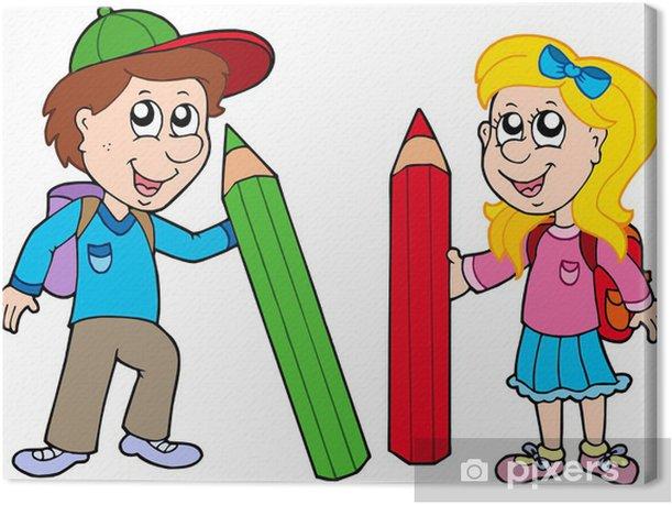Canvas Jongen en meisje met gigantische crayons - Muursticker