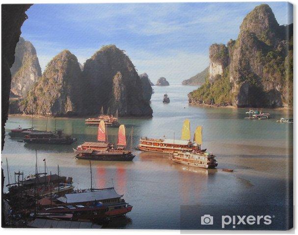 Canvas Jonken op Halong Bay - Azië