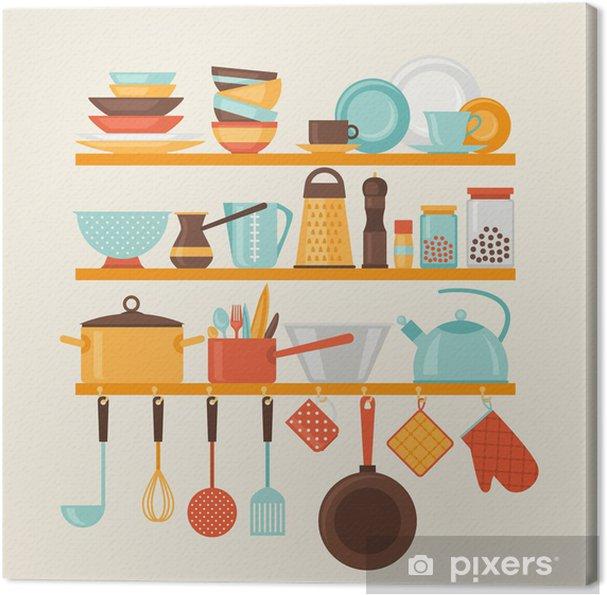 Canvas Kaart met keuken planken en kookgerei in retro stijl. - Thema's