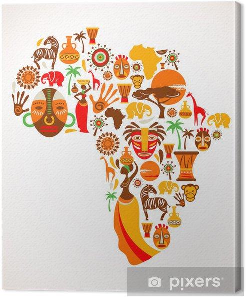Canvas Kaart van Afrika met vector iconen - Natuur