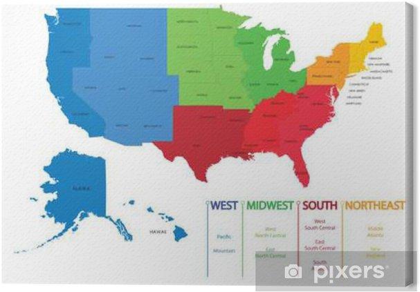 canvas kaart van de amerikaanse regio's. kaarten usa • pixers® - we