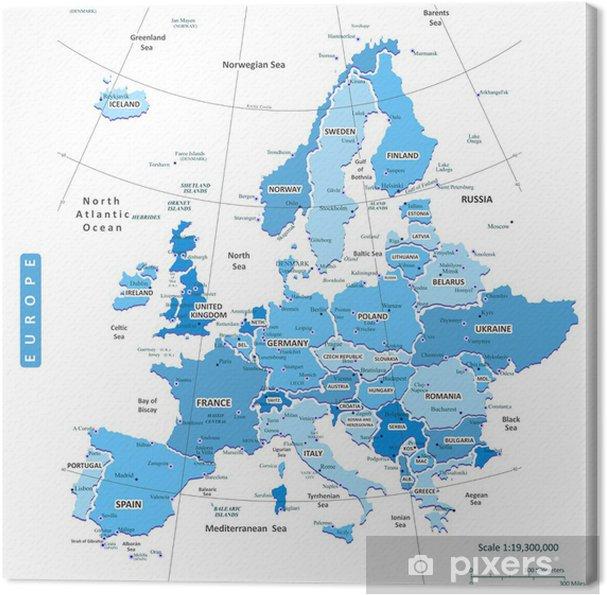 Canvas Kaart van Europa Stad - Accessoires en Objecten