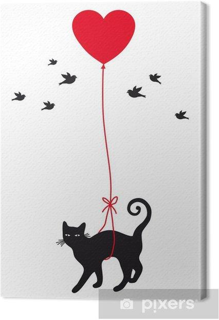 Canvas Kat met hart ballon, vector - Levensstijl