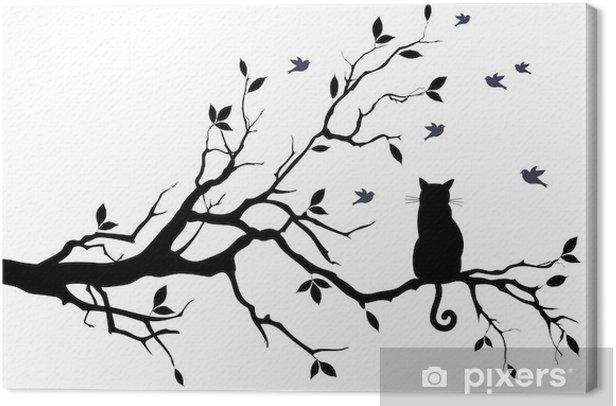 Canvas Kat op een boom met vogels, vector - Wetenschap en natuur