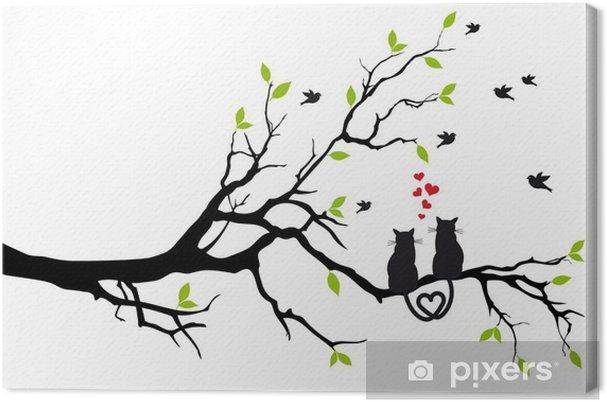Canvas Katten in liefde op boomtak, vector - Bestemmingen