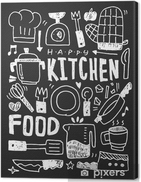 Canvas Keuken elementen doodles hand getekende lijn pictogram, eps10 - Grafische Bronnen