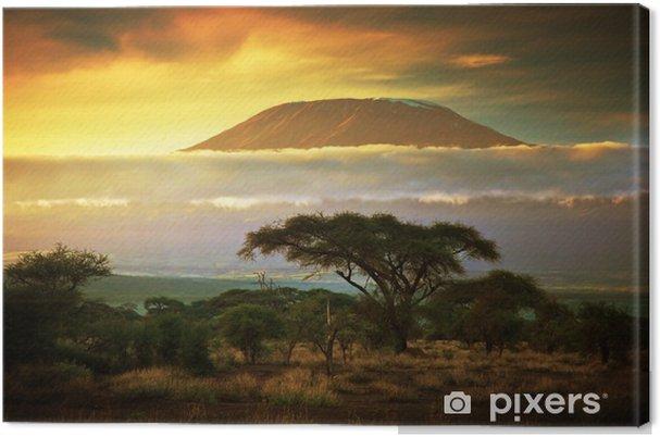 Canvas Kilimanjaro. Savanne in Amboseli, Kenia - Thema's