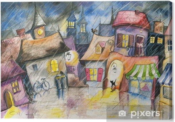 Canvas Kleine stad bij regen. - Thema's
