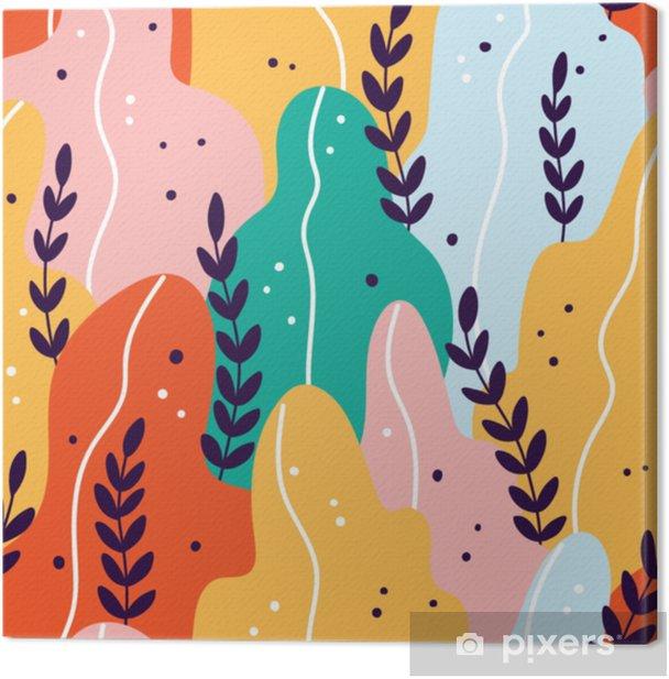 Canvas Kleurrijk exotisch naadloos patroon met takken en bladeren - Bloemen en Planten