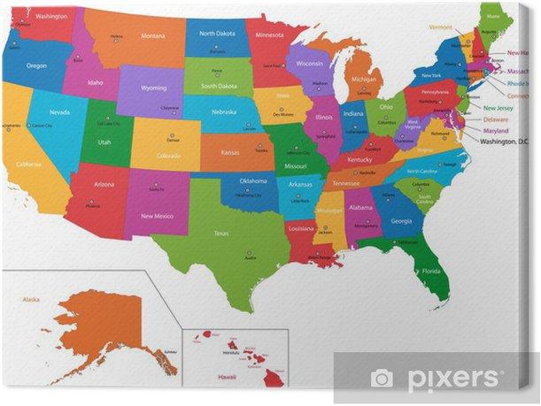 Canvas Kleurrijke kaart van de VS met staten en hoofdsteden - Thema's