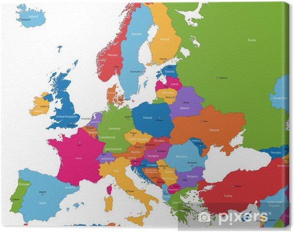 Canvas Kleurrijke kaart van Europa met de landen en hoofdsteden - Thema's