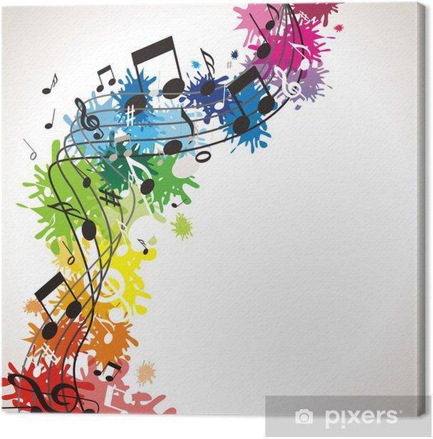 Canvas Kleurrijke muzikale achtergrond - Muziek