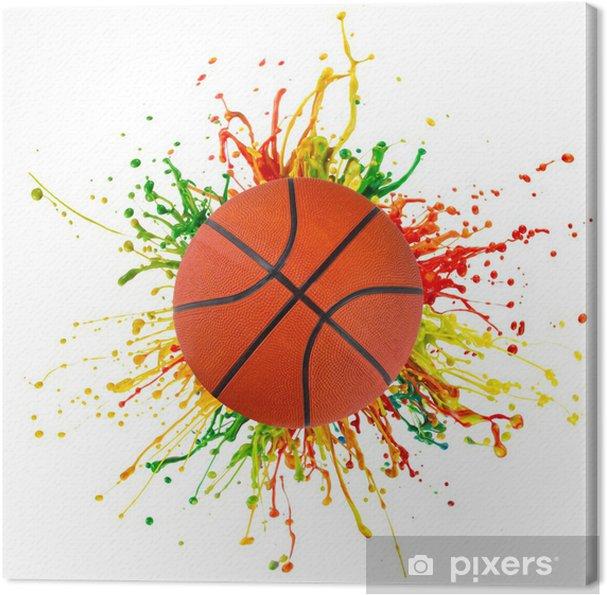 Canvas Kleurrijke splash met sport bal - Basketbal