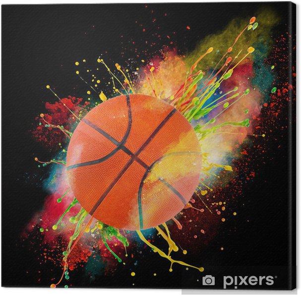 Canvas Kleurrijke verf spatten - Basketbal