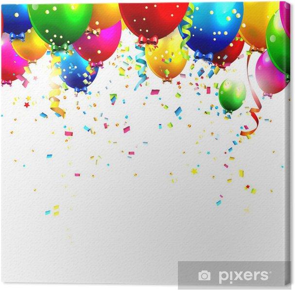 canvas kleurrijke verjaardag ballonnen en confetti - vector