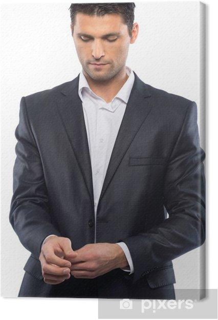 Overhemd Voor Pak.Canvas Knappe Jonge Man In Zwart Pak En Wit Overhemd Pixers We