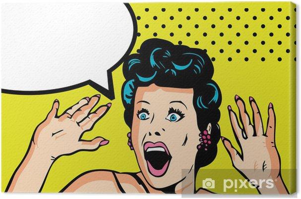 Canvas Komische Liefde Vector illustratie van verrast vrouw gezicht - Thema's