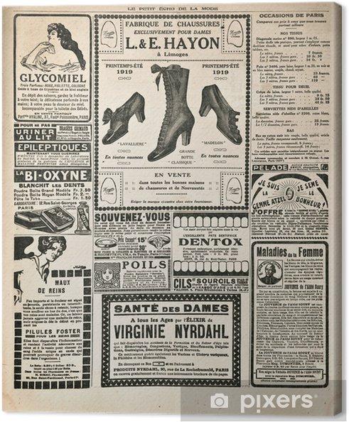 Canvas Krantenpagina met antieke advertentie - Stijlen
