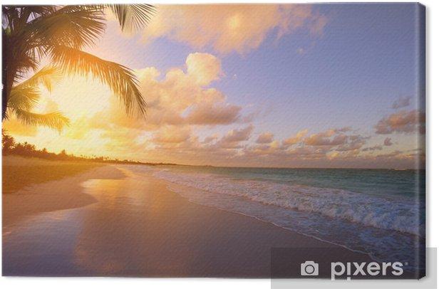 Canvas Kunst Mooie zonsopgang over het tropische strand - Thema's