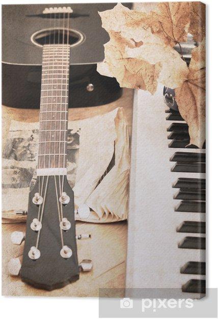 Canvas Kunstwerk in vintage stijl, gitaar en fortepiano - Thema's