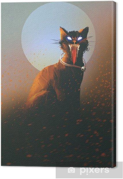 Canvas Kwade kat op een achtergrond van de maan, undead, verschrikking concept, illustratie - Hobby's en Vrije tijd