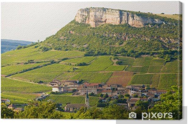 Canvas La Roche de Solutré met wijngaarden, Bourgondië, Frankrijk - Europa