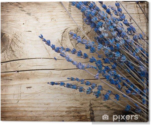 Canvas Lavendel over hout background.With exemplaar-ruimte - Kruiden