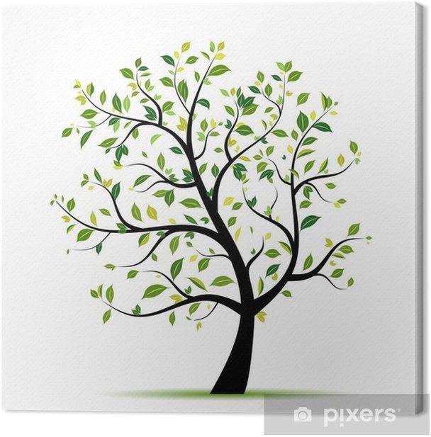 Canvas Lente boom groen voor uw ontwerp - Muursticker