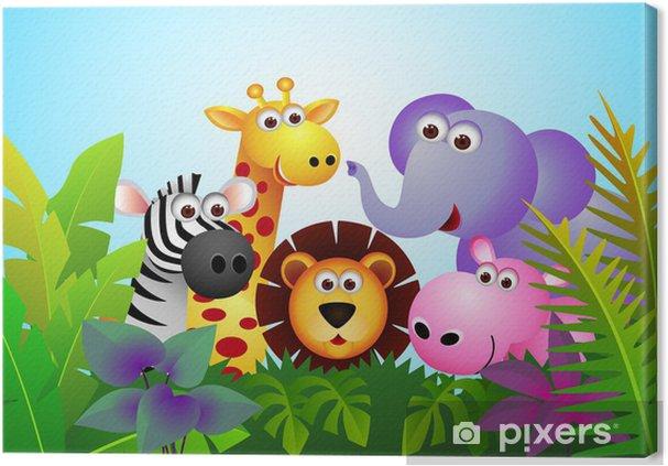 Canvas Leuke cartoon dier in de jungle - Student