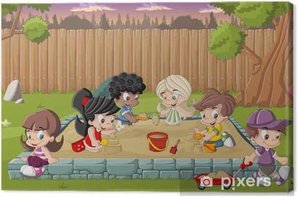 Canvas Leuke gelukkige cartoon kinderen spelen in zandbak op de achtertuin -