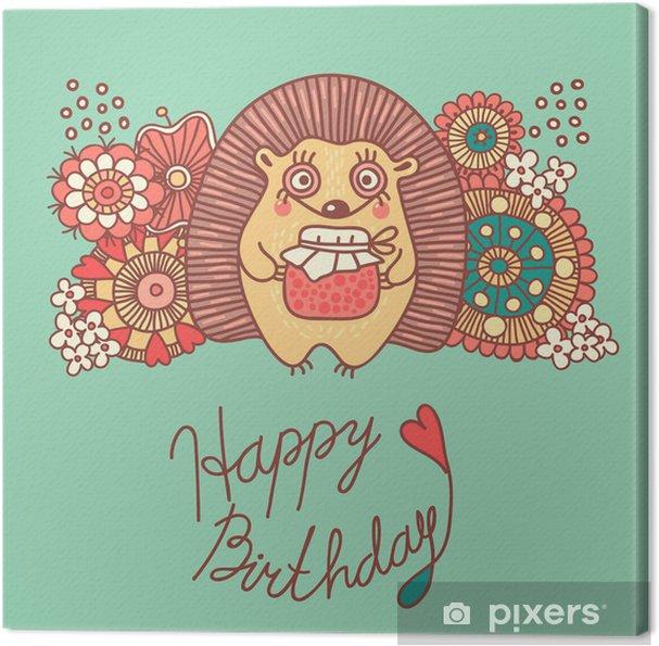 Canvas Leuke kaart met een egel en bloemen - verjaardag - Viering
