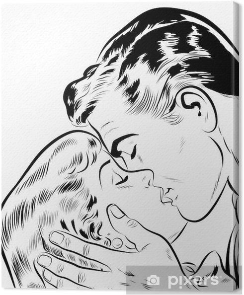 Canvas Liefdevolle paar die kusjes -