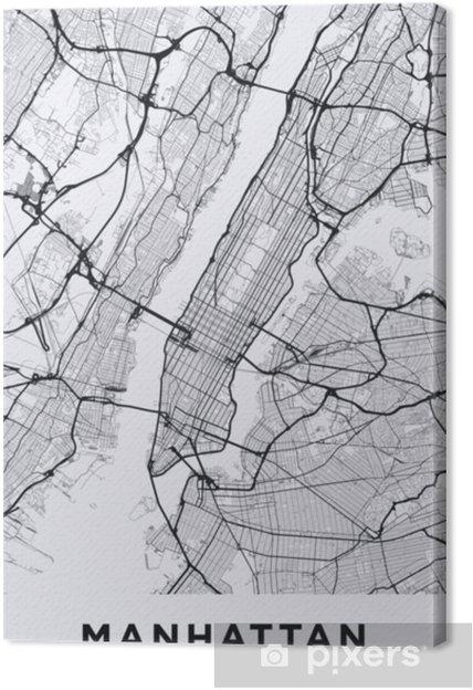 Canvas Light manhattan (new york) kaart. wegenkaart van manhattan (nyc). zwart en wit (licht) illustratie van de straten van Manhattan. transportnetwerk van manhattan. afdrukbare posterformaat (portret). - Grafische Bronnen