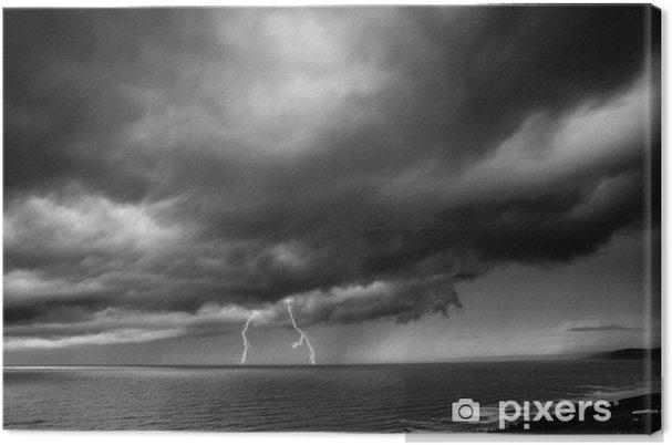 Canvas Lightning Storm Over Zee - zwart en wit - Stijlen
