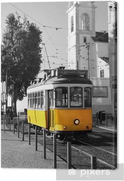 Canvas Lissabon oude gele tram over zwarte en witte achtergrond -