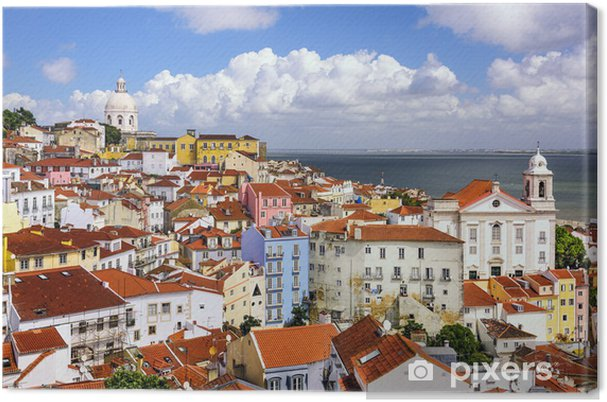 Canvas Lissabon, Portugal Horizon bij Alfama - Europese steden