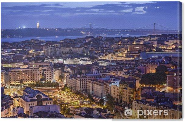 Canvas Lissabon, Portugal Horizon bij Nacht - Europese steden