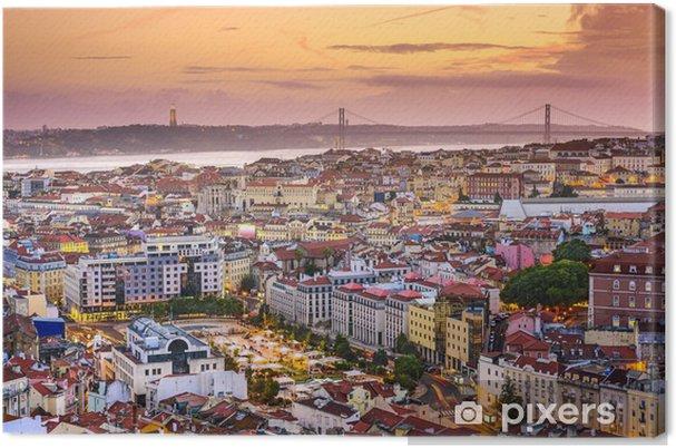 Canvas Lissabon, Portugal Skyline at Dusk - Thema's