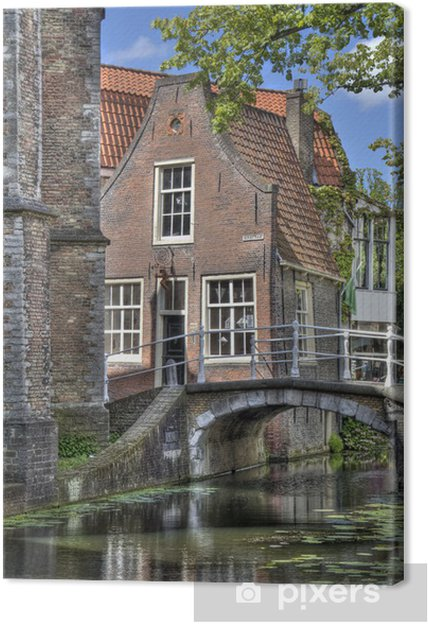 Canvas Little Delft House in Holland - Europese steden
