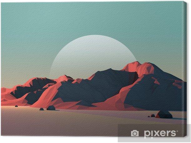 Canvas Low-Poly Mountain Landschap bij Schemer met Maan - Wonderen der Natuur