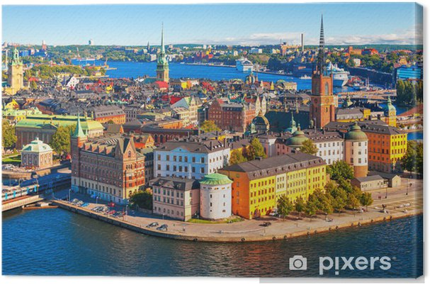 Canvas Luchtfoto panorama van Stockholm, Zweden - Thema's