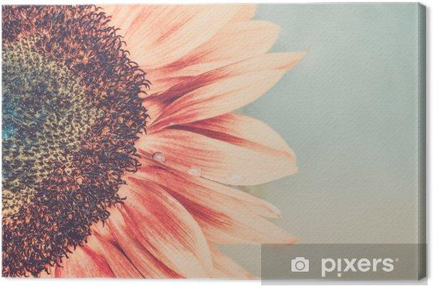Canvas Macro-opname van bloeiende zonnebloem - Bloemen en Planten
