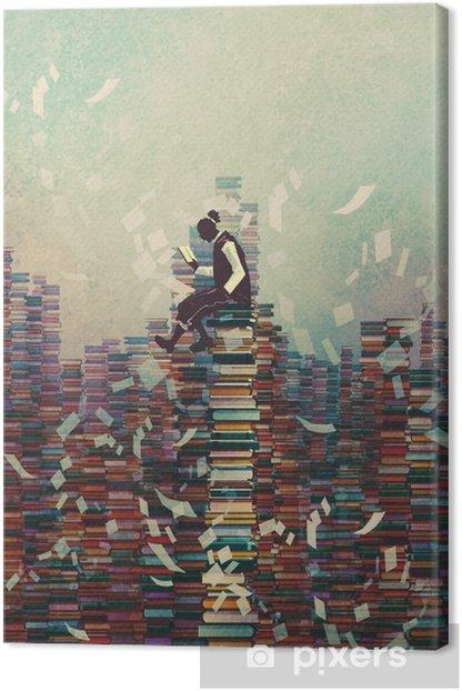Canvas Man het lezen van boek zittend op stapel boeken, kennis concept, illustratie painting - Hobby's en Vrije tijd