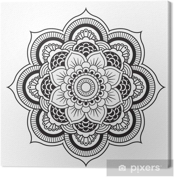 Canvas Mandala. Rond Ornament Patroon - Muursticker
