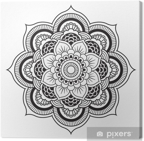 Canvas Mandala. Rond Ornament Patroon - Muursticker