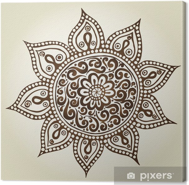 Canvas Mandala. Rond Ornament Pattern. Ornamental Flowers. - Abstractie