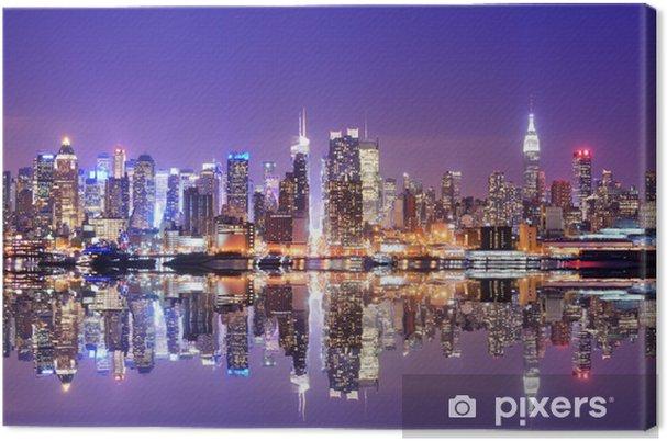 Canvas Manhattan Skyline met Reflections -