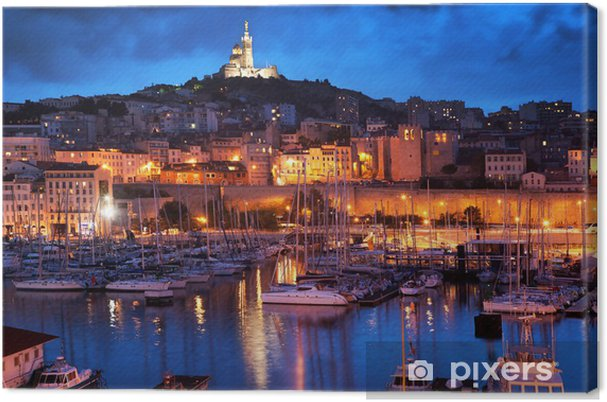 Canvas Marseille, Frankrijk panorama in de nacht, de haven. -