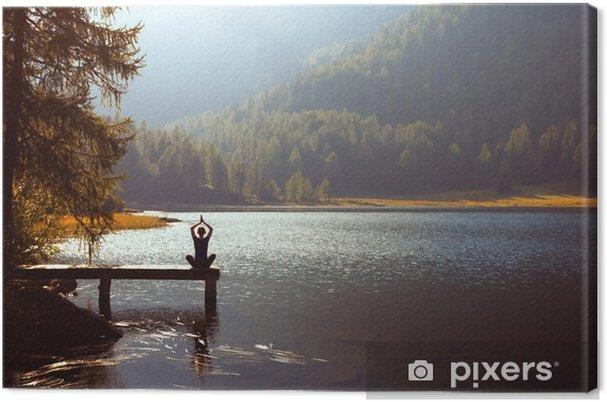 Canvas Meditatie en yoga beoefenen bij zonsondergang - Gezondheid