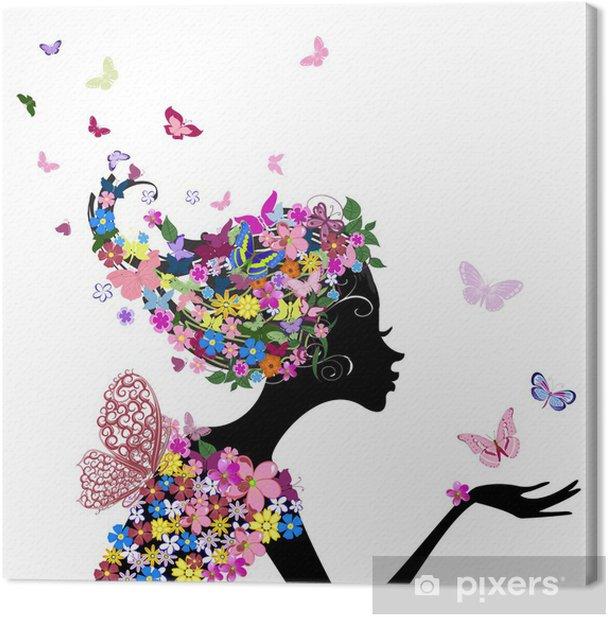 Canvas Meisje met bloemen en vlinders - Mode